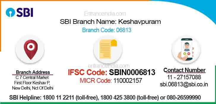 IFSC Code for SBI Keshavpuram Branch
