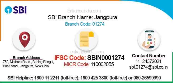 IFSC Code for SBI Jangpura Branch