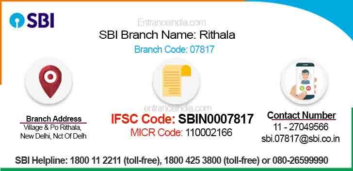 IFSC Code for SBI Rithala Branch