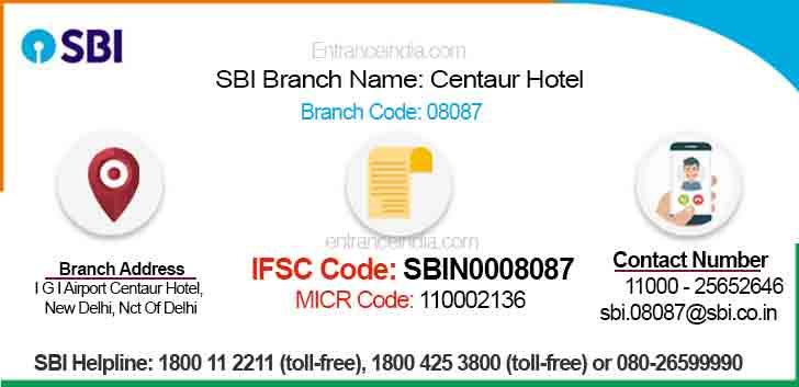 IFSC Code for SBI Centaur Hotel Branch