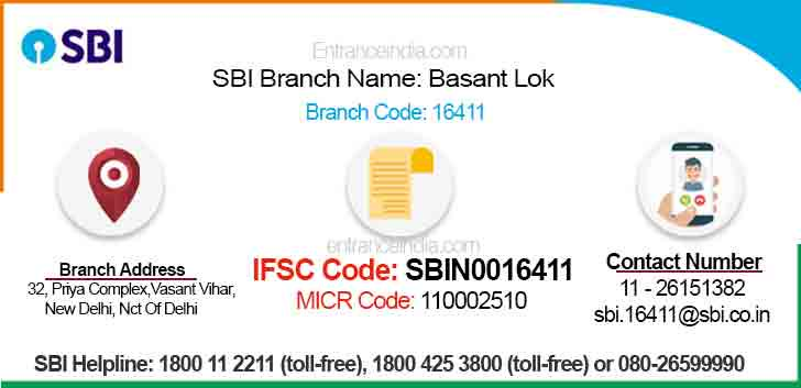 IFSC Code for SBI Basant Lok Branch