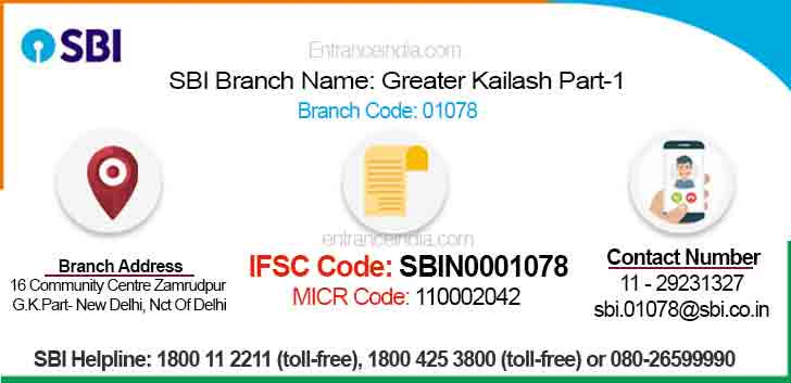 IFSC Code for SBI Greater Kailash Part-1 Branch