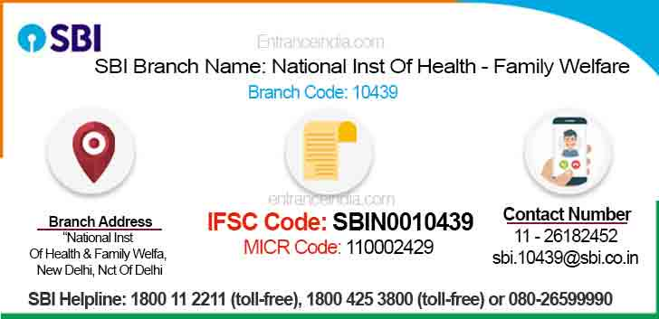 IFSC Code for SBI National Inst Of Health - Family Welfare Branch