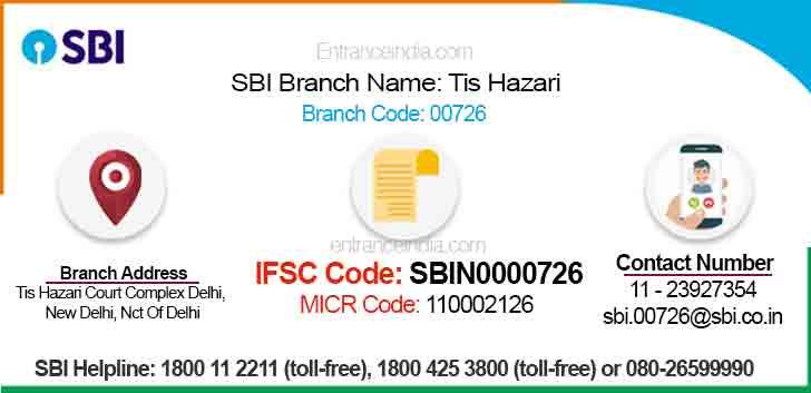 IFSC Code for SBI Tis Hazari Branch