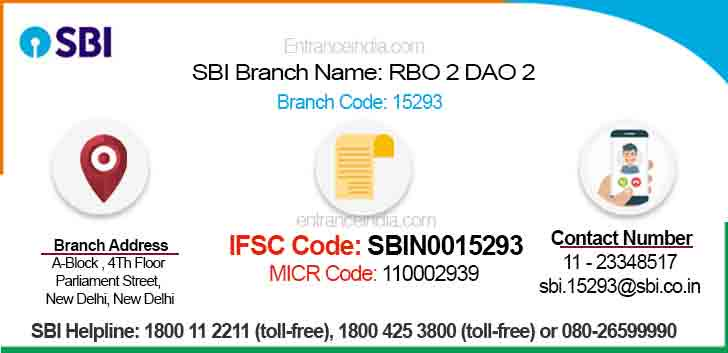 IFSC Code for SBI RBO 2 DAO 2 Branch