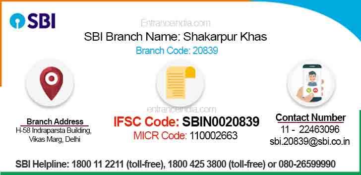 IFSC Code for SBI Shakarpur Khas Branch