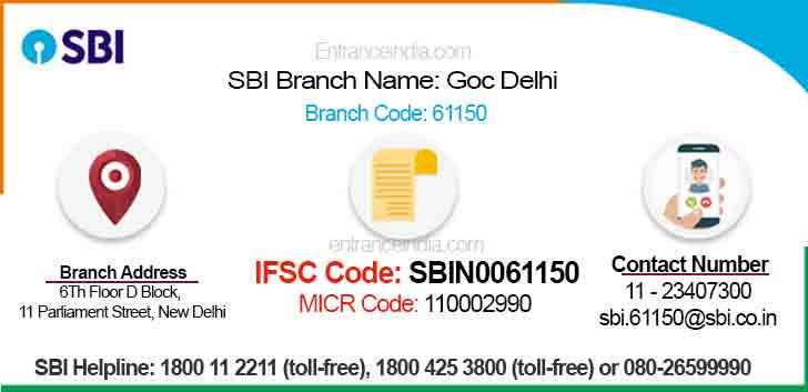 IFSC Code for SBI Goc Delhi Branch
