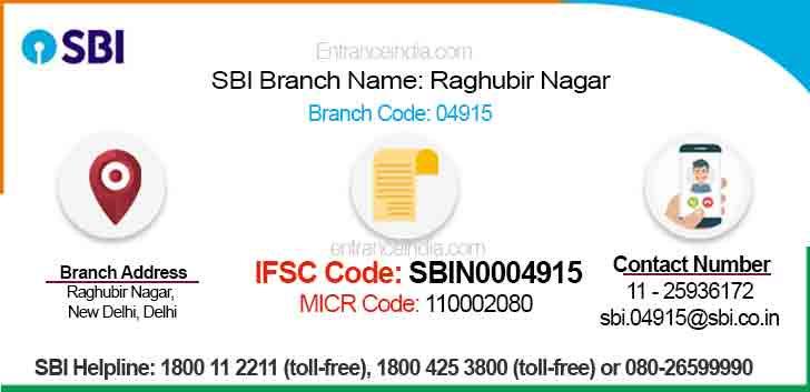 IFSC Code for SBI Raghubir Nagar Branch