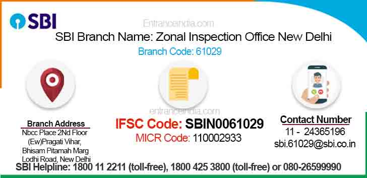 IFSC Code for SBI Zonal Inspection Office New Delhi Branch