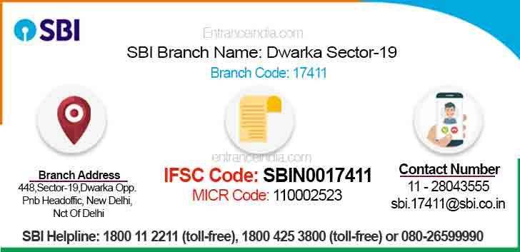 IFSC Code for SBI Dwarka Sector-19 Branch