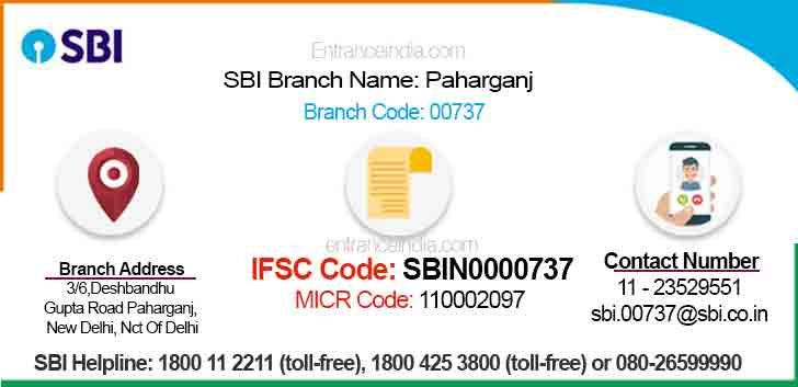 IFSC Code for SBI Paharganj Branch