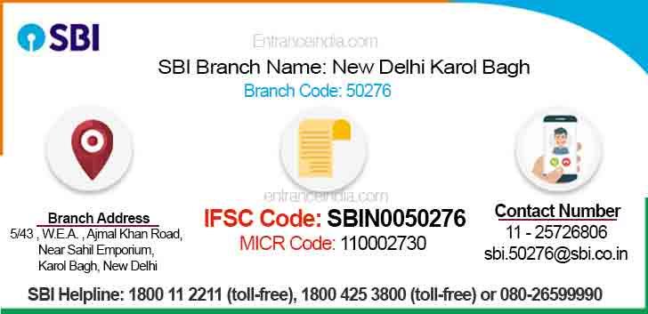 IFSC Code for SBI New Delhi Karol Bagh Branch