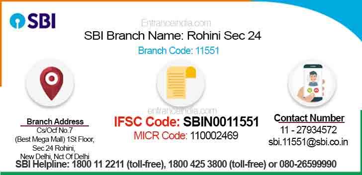 IFSC Code for SBI Rohini Sec 24 Branch
