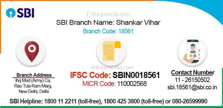 IFSC Code for SBI Shankar Vihar Branch