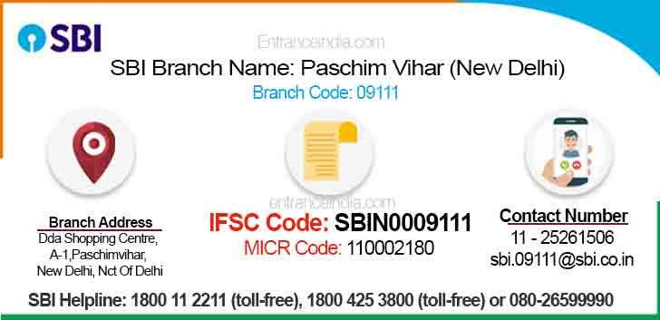 IFSC Code for SBI Paschim Vihar (New Delhi) Branch