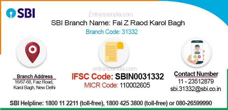 IFSC Code for SBI Fai Z Raod Karol Bagh Branch