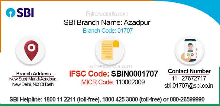 IFSC Code for SBI Azadpur Branch