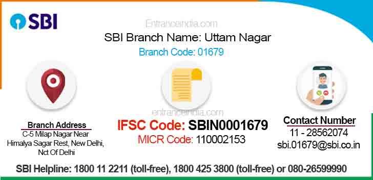 IFSC Code for SBI Uttam Nagar Branch