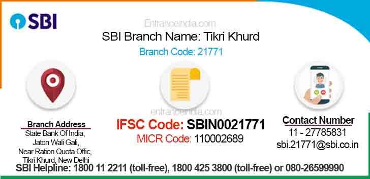 IFSC Code for SBI Tikri Khurd Branch