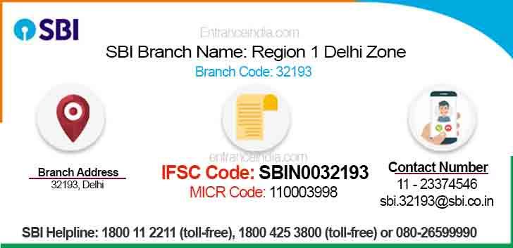 IFSC Code for SBI Region 1 Delhi Zone Branch