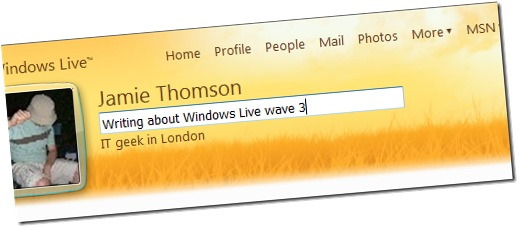 windows live profile personal status message