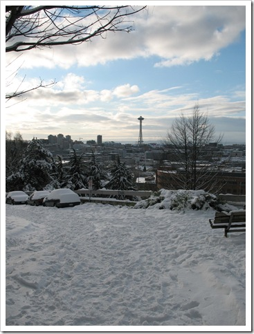 Seattle Schneetag 22 Dezember 2008 Space Needle
